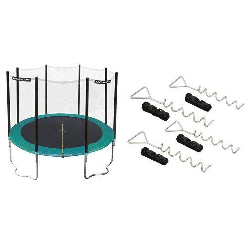Ultrasport Trampolin Jumper, Grün, 366 cm, 331300000222 & Ultrasport Bodenverankerung, Bodenanker-Set für Trampoline, Schaukeln, Gartenhaus, Spielturm und vieles mehr