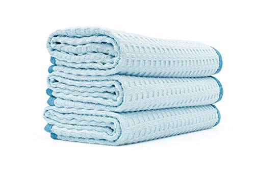 The Rag Company - Dry Me A River - Professional Korean 70/30 Blend Microfiber Waffle-Weave Drying & Detailing Towels, Soft Suede Edges, Light Blue, 16in x 24in (3-Pack)