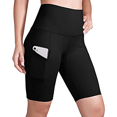"""ODODOS Women's Out Pockets High Waisted Workout 9"""" Shorts, Yoga Athletic Cycling Hiking Sports Shorts,Black,Large"""
