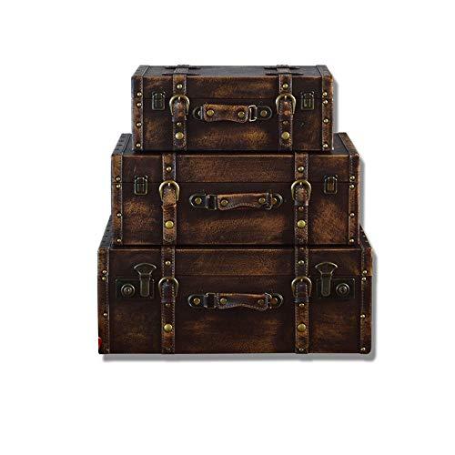 Maleta de equipaje retro antigua Maleta decorativa (conjunto de 3, Brown) del cuadro de estilo antiguo de la vendimia for la decoración casera fiestas de cumpleaños decoración de la boda Muestra Craft