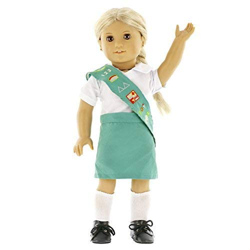 Dress Along Dolly Girl Scout Inspired Doll Outfit (5 Piece Set) - Uniform Premium Handmade Clothes for American Girl & 18' Dolls - Includes Shirt, Skirt, Socks, Shoes, & Sash