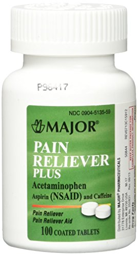 Major Pain Reliever Plus - Acetaminophen, Aspirin (NSAID) and Caffeine tablets -100 Tablets