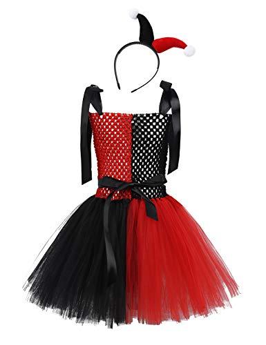 YiZYiF Vestido Payaso Disfraz Escuadrón Suicida Niñas Traje Halloween Cosplay Niñas Circo Vestido Tutú Fiesta con Tocado Disfraces Navidad Fancy Dress Negro y Rojo 1-2 Años