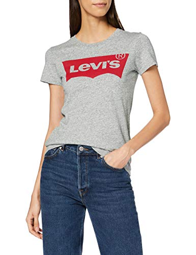 Levi's Damen T-Shirt, The Perfect Tee, Grau (Better Batwing Smokestack Smokestack Htr 263),  Gr. S