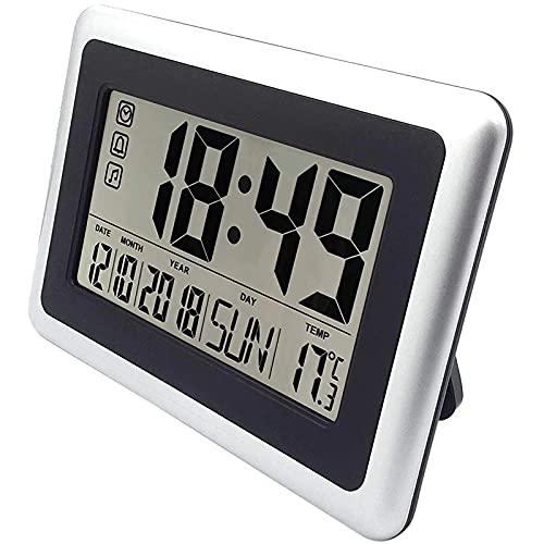 Reloj de Pared Pantalla Grande Reloj de Pared Digital Reloj silencioso de estantería de Escritorio Funciona con Pilas Reloj Despertador de Mesa de Noche fácil de Leer sin luz Nocturna
