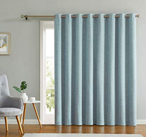 Extra Long and Wide 100% Blackout Curtains for Sliding Glass Door, Linen Texture Patio Door Panel for Bedroom/Living Room/Patio Grommet Top,Light Blue 100' W x 84' L