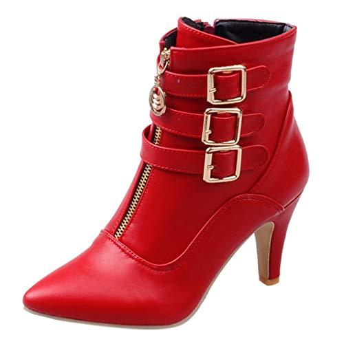 MOTOCO Stiefeletten Damen High Heel Spitzleder Reißverschlussknopf Volltonfarbe Kurze Stiefeletten(35.5 EU,Rot)