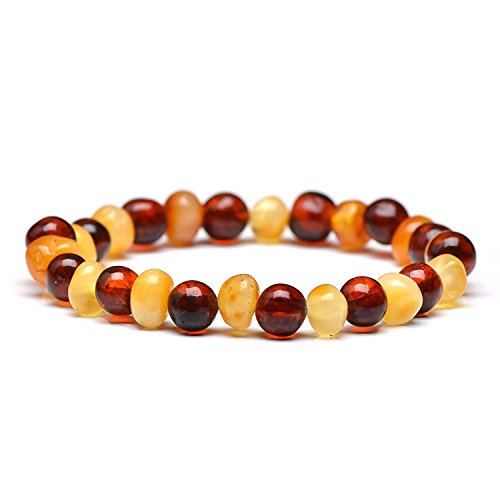 Genuine Amber Unisex Bracelet - Polished Baltic Sea Amber Jewelry - Baroque Shape Amber Beads Hand-Assembled in Europe - 7 inch - MIxed Cognac and Butterscotch