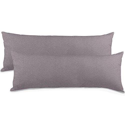 aqua-textil Classic Line Kissenbezug 2er-Set 40 x 145 cm dunkel grau Baumwolle Seitenschläferkissen Bezug Reißverschluss