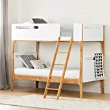 South Shore , Pure White and Exotic Light Wood Bebble Twin Modern Bunk...