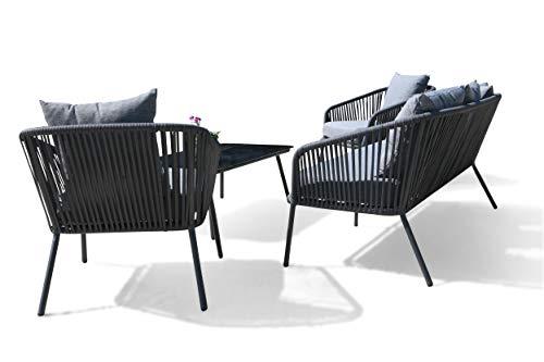 GRASEKAMP Qualität seit 1972 Lounge Sitzgruppe 4 teilig mit dicken Kissen Grau Coffee Set Arezzo Aluminium Loungeset Garten Sitzgruppe Loungemöbel - 6