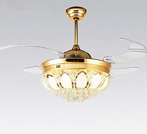 OUPPENG Lámpara de Ventilador Moderno ventilador de techo luz Luz de lujo plegable ventilador de techo Lámpara de comedor con ventilador con control remoto (Blade Color : 220V golden)