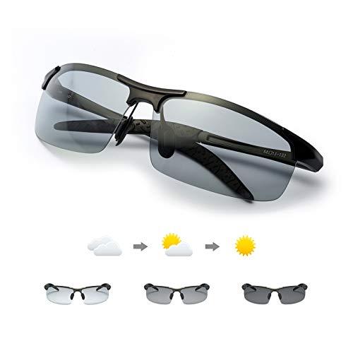 Enafad Gafas Fotocromaticas con Estructura Metálica-Gafas de Sol Hombre Polarizadas Protección 100% UVA/UVB (Montura negra/lente gris)…