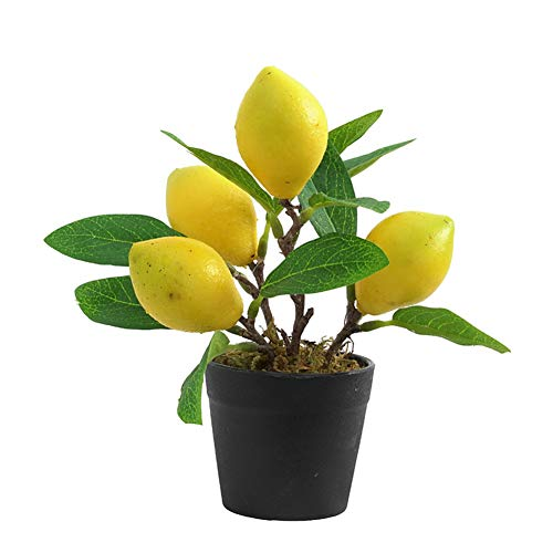 Yiying Artificial Lemon Tree, Faux Plants Arrangement for Home, Living Room, Dining Room, Bathroom Decoration, Fake Yellow Lemons Fruits in Planter (14x18cm/5.5x7inch)