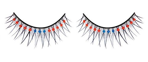Baci Starlight Edition Style No.497 Rhinestone Premium Eyelashes Adhesive Included, Black/Red/Blue by Baci Lingerie