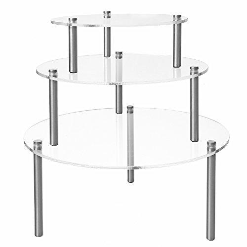 MyGift 3-Piece Set Round Clear Acrylic Server Dessert & Bakery Display Riser Stands