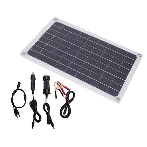 Qqmora Cargador de energía Solar, portátil, liviano, de 20 W, USB, Panel Solar con Cable, módulo de Panel de célula Solar, Cargador para semáforos, Ventiladores eléctricos para Luces publicitarias