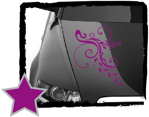 DD Dotzler Design Tuning V1 Blumenranke Floral Aufkleber für Motorhaube Heckscheibe Autoaufkleber (34 x 24 cm violett)