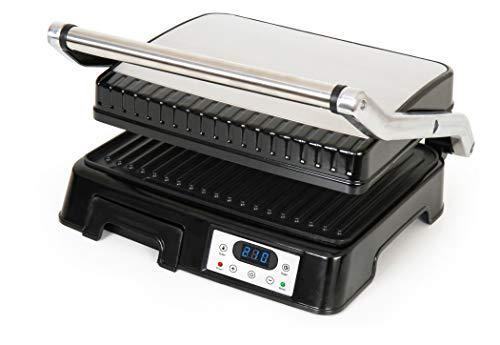 Venga! VG COG 3001 Panini-Maker/Sandwichmaker - 2000 W, Edelstahl, Kunststoff, Aluminiumguss, Schwarz