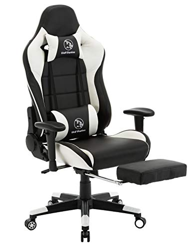 Gaming Chair Ergonomic Computer Game Chair Seat Height Adjustment Recliner Swivel Rocker E-Sports Office Chair with Headrest and Lumbar Pillow (Leather, White/Black with Footrest) chair gaming white