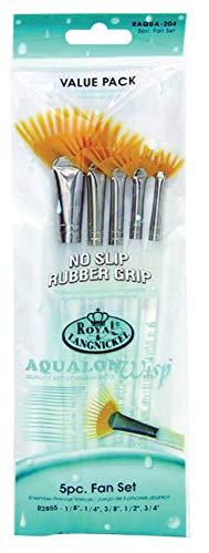 Royal and Langnickel Aqualon - Set di pennelli di precisione a ventaglio, con ciuffetti, confezione da 5 pezzi