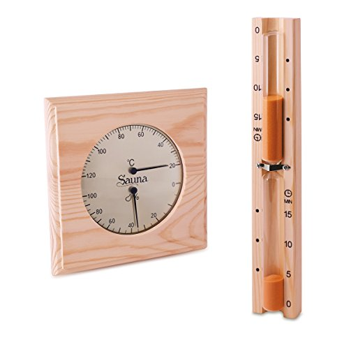 Sauna Set - Hygrometer Thermometer & Sanduhr Basic Klimamesser Meßgerät
