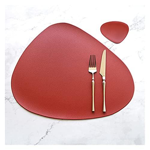GUANGGUANG Heartwarming Shop Matería de vajilla de placemat de Cocina con Aislamiento térmico de montaña de tazón PU Cuero fácil de Limpiar 2 4 6 8 PCS