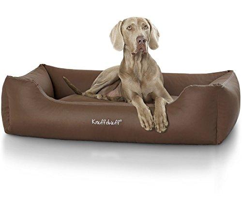 Knuffelwuff Hundebett Sidney Kunstleder Hundekorb Hundesofa Hundekissen Hundekörbchen waschbar Braun M-L 85 x 63cm