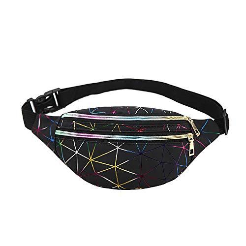 Mode Bauchtasche für Damen Mädchen, Morbuy Glänzend Reißverschluss Wasserdicht Gürteltasche Stylische PU Hüfttasche mit Verstellbarer Gurt für Festival Party (30 * 10 * 15,Schwarz)