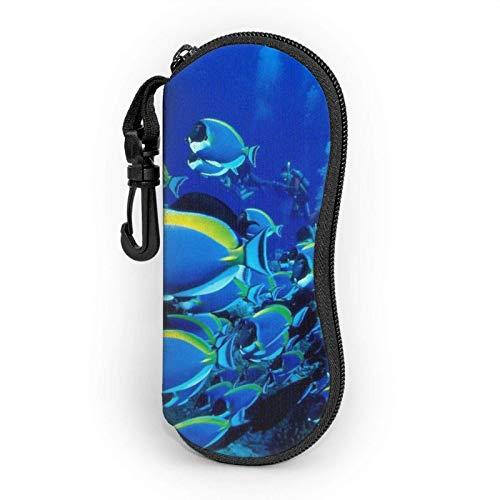 Blue Fish Ocean Unisex moda portátil gafas caso estudiante papelería caja bolsa...