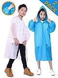 HLKZONE Raincoat for Kids, [2 Pack] EVA Kids Rain Coat Reusable Rain Poncho Jacket for Boys and...
