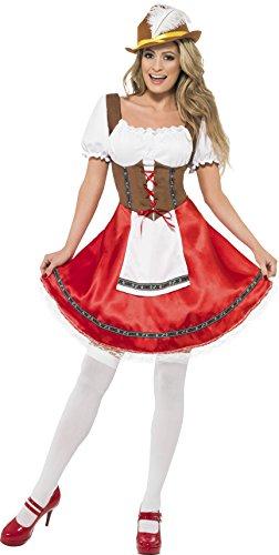 Smiffys, Damen Bayerisches Mädchen Kostüm, Kleid mit angesetzter Schürze, Größe: M, 30092