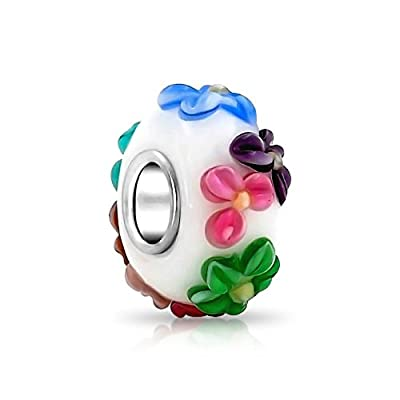 3D Multicolor Flower Murano Glass Charm 925 Sterling Silver Bead Fit European Brand Charms Wonderful