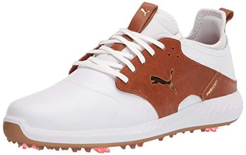 Puma Men's Ignite Pwradapt Caged Crafted Golf Shoe, Puma White-Leather Brown-Puma Team Gold, 12