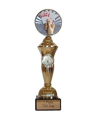 RaRu Poker/Skat-Pokal mit Wunschgravur und 3 Anstecknadeln (Sticker)