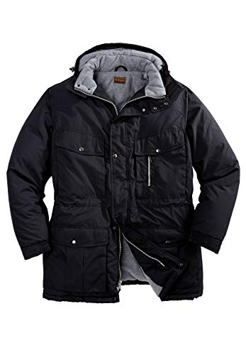 Boulder Creek by Kingsize Men's Big & Tall Fleece-Lined Parka with Detachable Hood and 6 Pockets - Tall - 6XL, Black