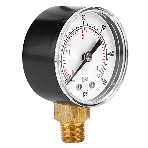 Socobeta 1/4 BSPT lecturas claras Medidor de presión Medidor de presión mejor protección para la industria minera para la medición de presión doméstica (0-60psi 0-4bar)