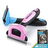 Bluepet UnterwollGlück deShedding Katzenbürste & Hundebürste | Entfernung der Unterwolle | 60mm (Pink)