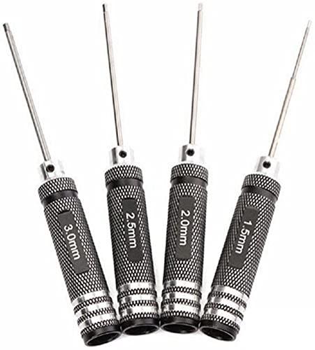 DMZK Destornilladores Titanio 4Pcs 1.5/2 / 2.5/3.0mm Juego de Herramientas de reparación de la Llave Allen para Coches RC