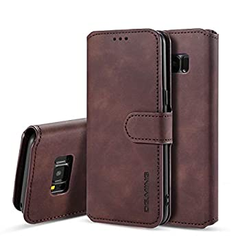 UEEBAI PU Leather Case for Samsung Galaxy S7 Vintage Retro Premium Wallet Flip Cover TPU Inner Shell [Card Slots] [Magnetic Closure] Stand Function Folio Shockproof Full Protection - Coffee
