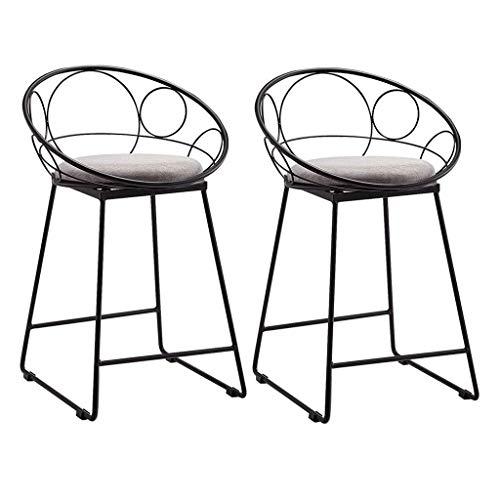 WWW-DENG barkruk bar hoge stoel keuken barkruk met voetenbank/sponsband/back stoel zwart metalen poten 2 barkrukken set belasting 150 kg barkruk