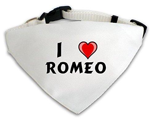 Personalisierter Weißer Hundschal mit Aufschrift Ich liebe Romeo (Vorname/Zuname/Spitzname)