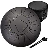 Amkoskr 12 Pollici 30 cm Tamburo in Acciaio a 11 note Steel Tongue Drum Strumento a Percus...