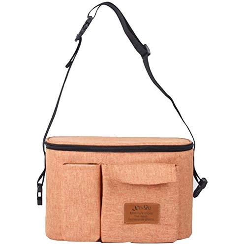 WRJ Tidy Multifunction Stroller Organizer, Universal Shoulder Strap with Stroller Bag Buggy Bag Large Storage Space,Brown