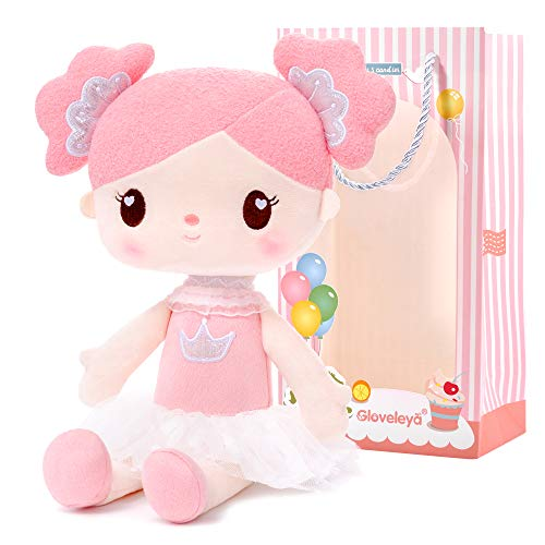 Gloveleya Baby Girl Gifts Rag Doll Soft Plush Candy Girl Pink 14.5 Inches