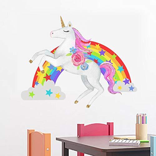 Etiqueta de la etiqueta engomada del arte de la pared para el dormitorio casero Protección del medio ambiente del unicornio del arco iris