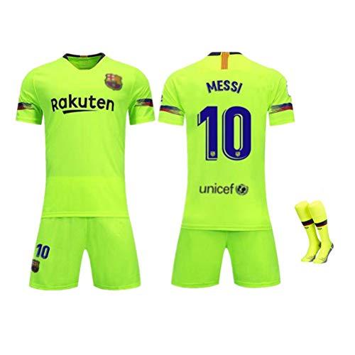 FRYP Barcelona Trikot 18-19 Barcelona Heimtrikot 10# Messi Kurzarmanzug Fußballuniform für Kinder-Green-L