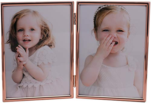 LEADEX Concise Hingded Double Picture Frame, Silver Plated,Standing Vertical,5 by 7 Inch,Best for Home Or Office Table Decor (Rose Gold)