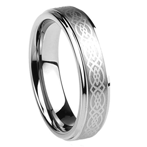 Prime Pristine 6mm Stainless Steel Wedding Band Ring for Men & Women Celtic Knot Engraved Ring for Men & Woman SZ: 7.5