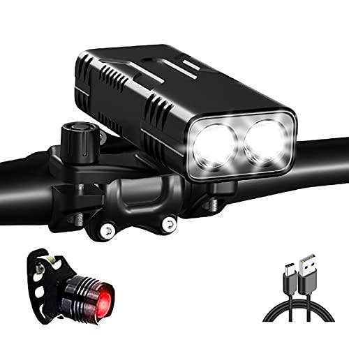 FGKLU 10000mAh Type-C USB Fahrradbeleuchtung mit Rücklicht, 1600 Lumen Fahrradlampe Vorne Fahrradlicht, für Mountainbike und Rennrad